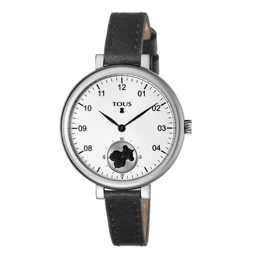Uhr Spin aus Stahl mit schwarzem Lederarmband