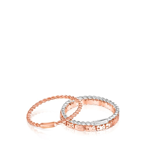 Silver, Silver Vermeil and rose Silver Vermeil TOUS Ring Mix Rings set