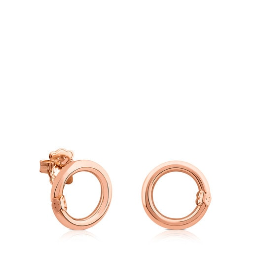Small Rose Vermeil Silver Hold Earrings