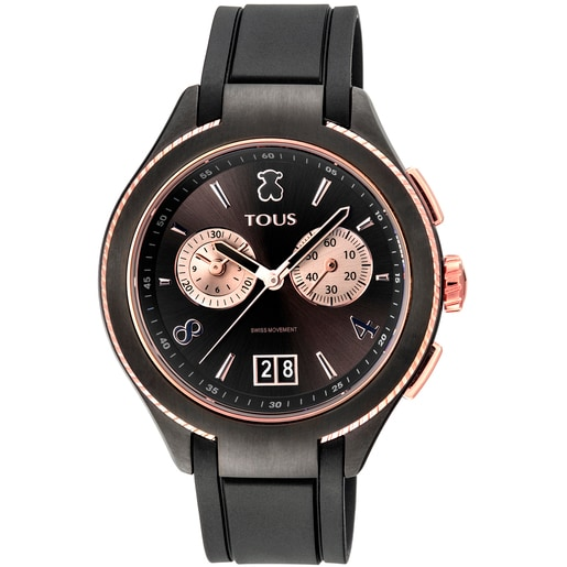 Ρολόι Δίχρωμο ST με Επιμετάλλωση σε Μαύρο/Ροζ χρώμα με μαύρο δερμάτινο λουράκι
