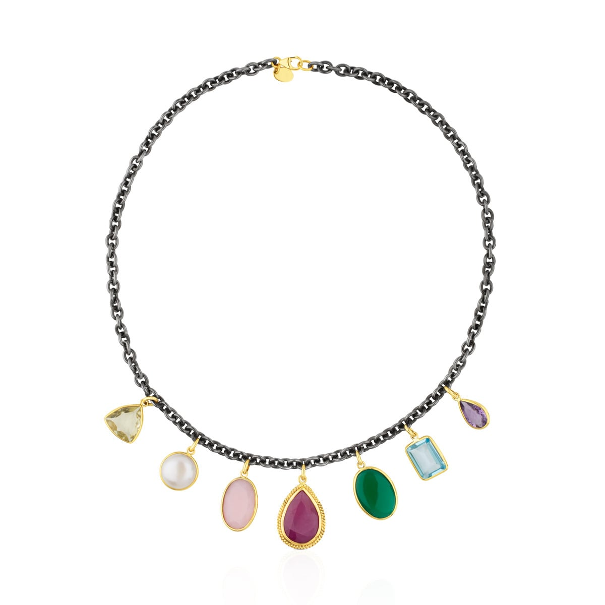 Silver and Gold Gem Power Necklace with Gemstones - Tous Site Puerto Rico