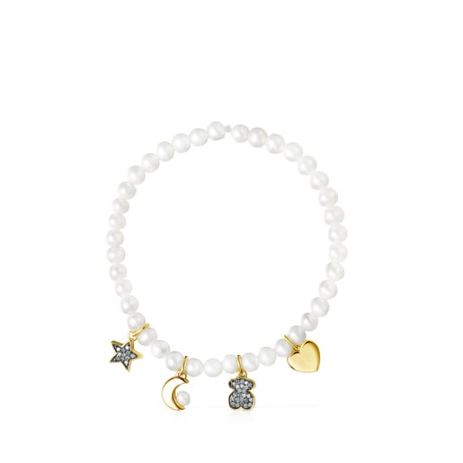Nocturne Pearl Bracelet with Silver Vermeil and Diamonds