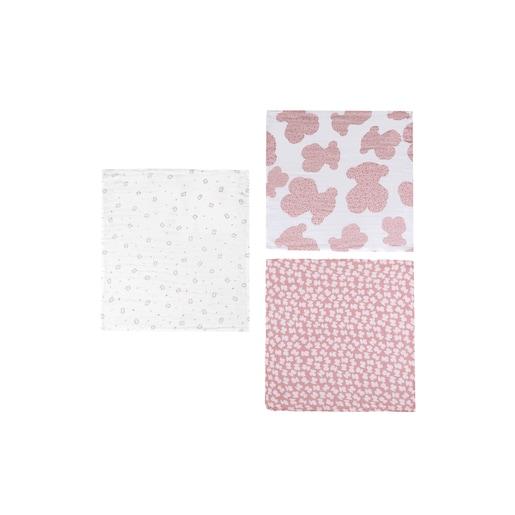 Set of 3 MMuse mini muslin blankets in Pink