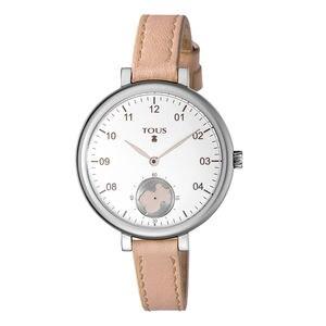 Reloj Spin de acero con correa de piel nude