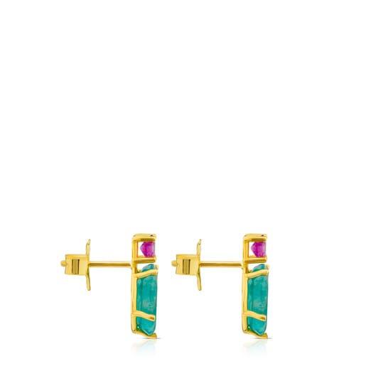 Σκουλαρίκια Ivette από Χρυσό με Αμαζονίτη και Ρουμπίνι