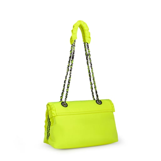 Fluorescent Yellow T Lux Crossbody Bag with Flap