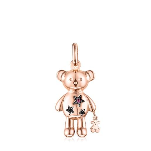 Rose Silver Vermeil Teddy Bear Stars Pendant with Gemstones