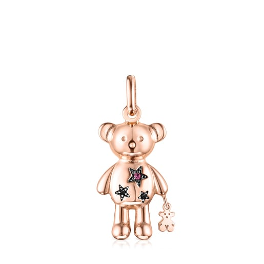 Colgante Teddy Bear Stars de plata vermeil rosa y gemas