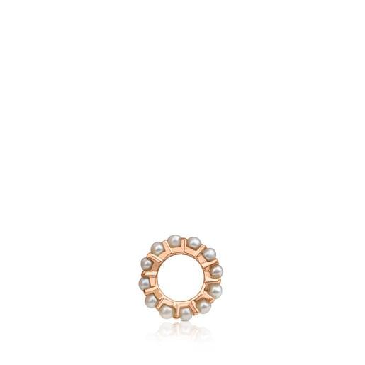 Colgante pequeño Shield de Plata Vermeil rosa con Perlas