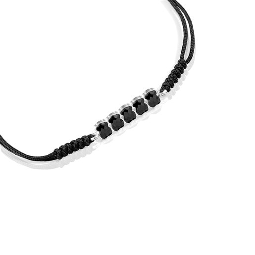 Mini Onix Bracelet in Silver with Onyx and black Cord