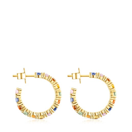 Silver Vermeil Glaring Hoop earrings with multicolored Sapphires