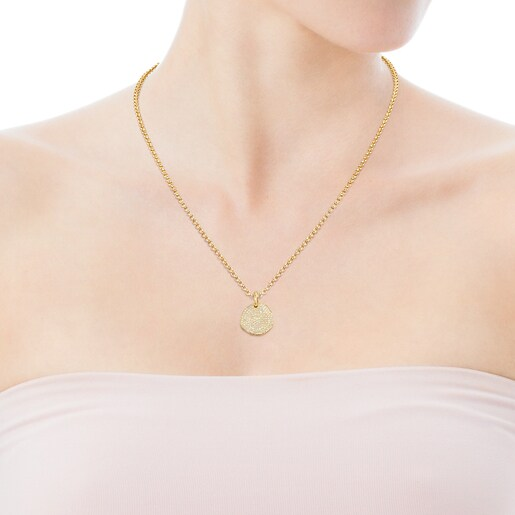 Large Gold Nenufar Pendant with Diamonds