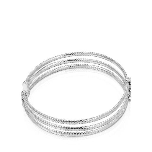 Light triple Bracelet in White Gold with Diamonds