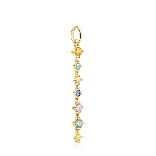 Dije largo Glaring de plata vermeil con zafiros multicolor
