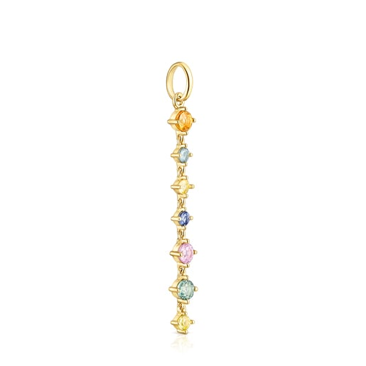 Long Silver Vermeil Glaring Pendant with multicolored Sapphires
