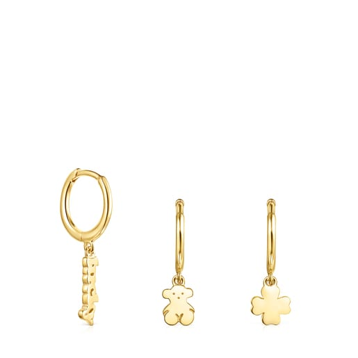 Silver Vermeil TOUS Good Vibes Hooped earring Set