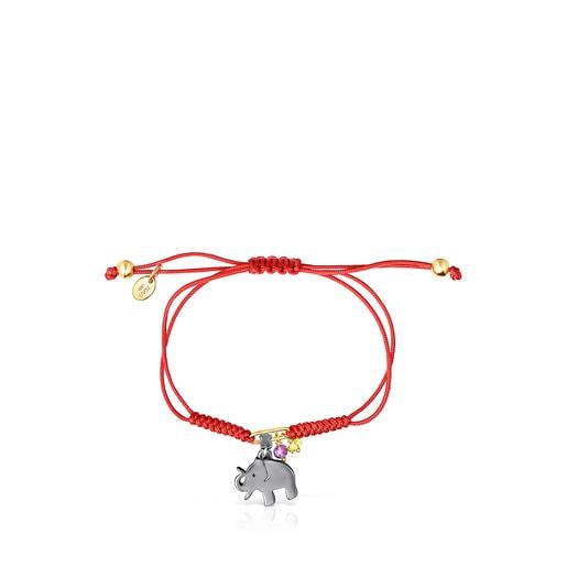 Pulsera TOUS Good Vibes elefante de plata dark silver, gemas y cordón rojo