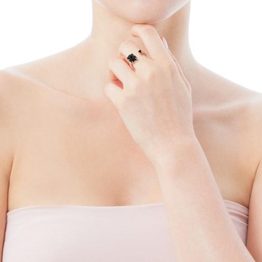 Anillo Erma de Plata Vermeil rosa con Ónix