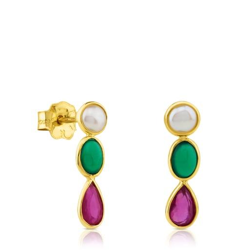 Boucles d'oreilles Gem Power en Or avec Perle, Agate verte et Rubis