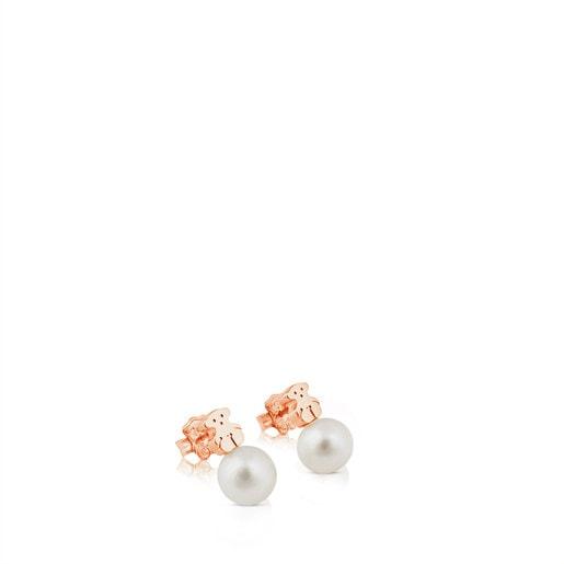Rose Vermeil Silver Hiper Micro Earrings with Pearl