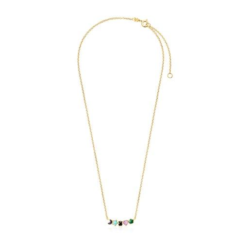 Halskette Glory aus Vermeil-Gold mit Edelsteinen