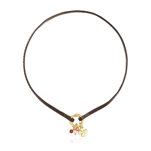 Collar TOUS Good Vibes trébol de plata vermeil, gemas y cuero marrón