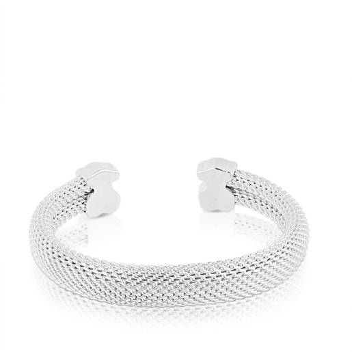 Silver Bangle TOUS Mesh Bear motifs 1x0,6cm