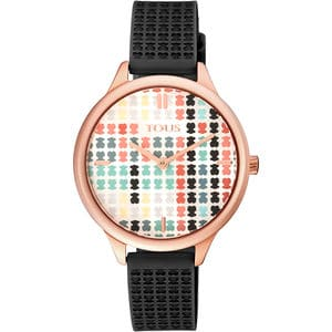 Pink IP Steel Multicolor Tartan Watch with Black Silicone Strap