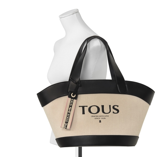 Beige and black T Cotton tote bag