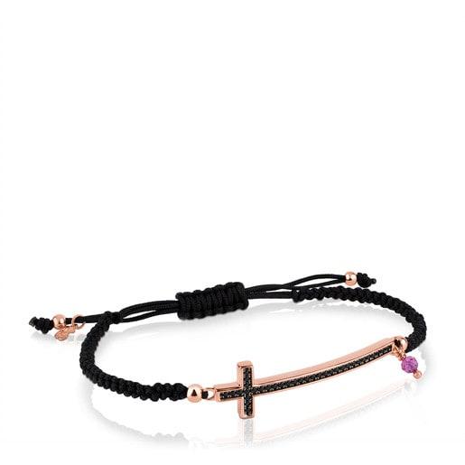 Pulsera Motif de Plata Vermeil rosa con motivo Cruz en Espinela y Rubí