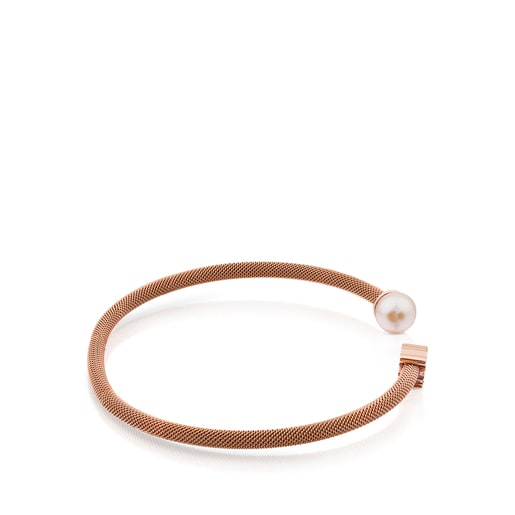 Bracelet Icon Mesh en acier et argent vermeil rose avec perle