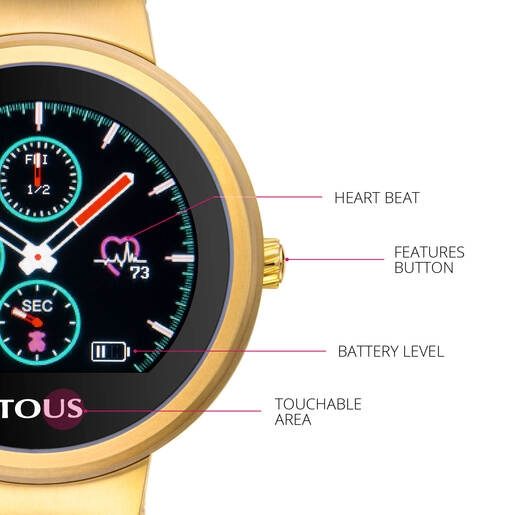 Reloj activity Rond Touch de acero IP dorado