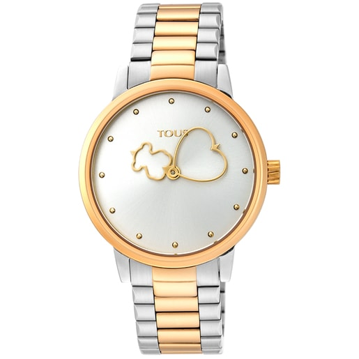 Two-tone gold-colored IP/Steel Bear Time Watch