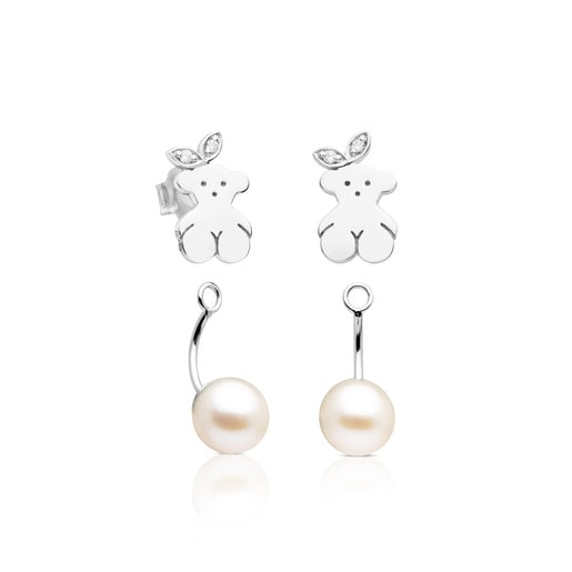 White Gold TOUS Pearl Extension earrings with Pearl