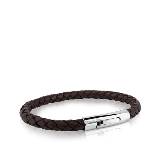 Steel TOUS Man Bracelet with brown leather