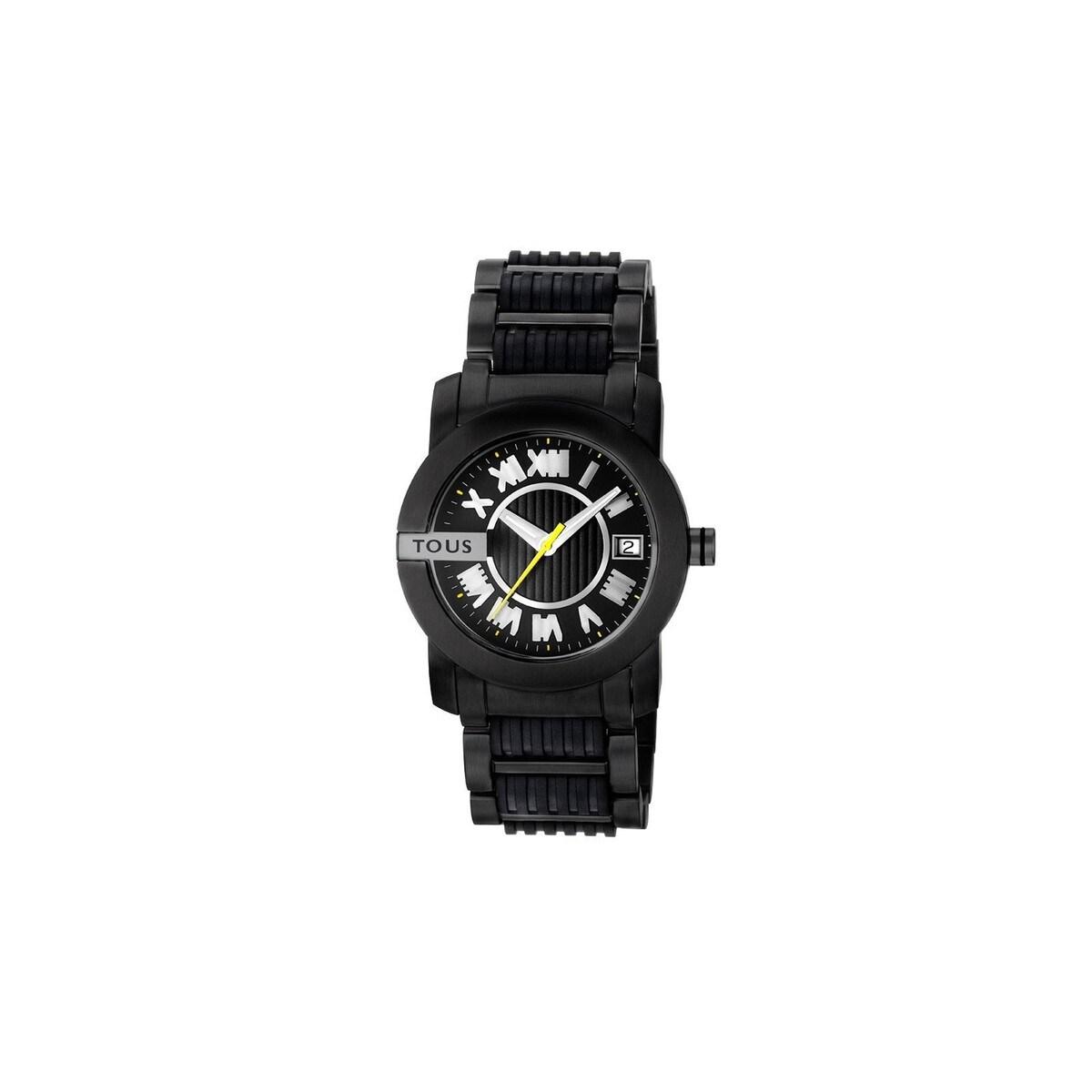 Relógio Oto Round em Aço com correia de Silicone preta