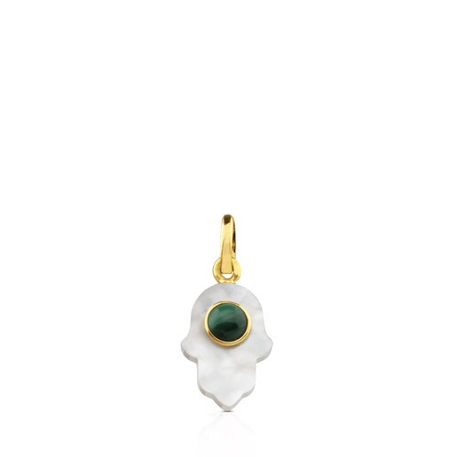 Gold Super Power Pendant with Mother-of-pearl and Malachite
