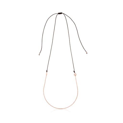 Cadena larga TOUS Chain de plata vermeil rosa con cordón marrón