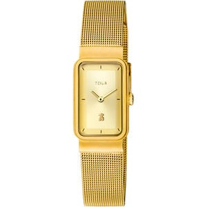 Gold-colored IP Steel Squared Mesh Watch