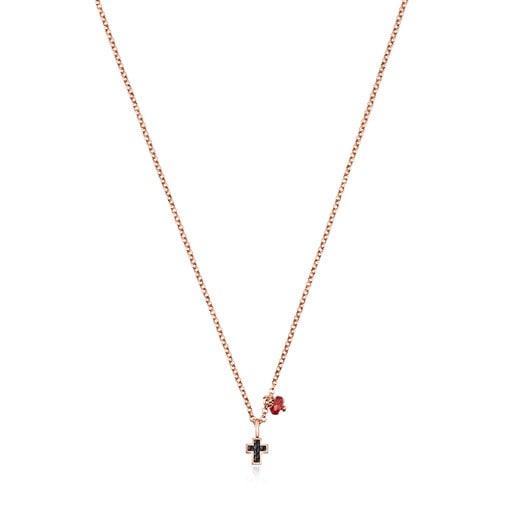 Collar Motif cruz de Plata Vermeil rosa con Espinelas y Rubí