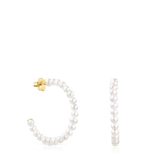 Gloss hoop earrings with Pearls