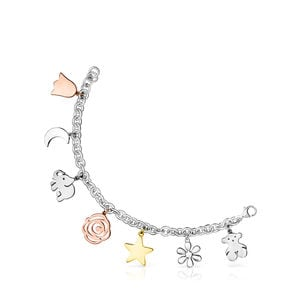 Silver Sweet Dolls Bracelet with Gold Vermeil, rose Gold Vermeil and Dark Silver