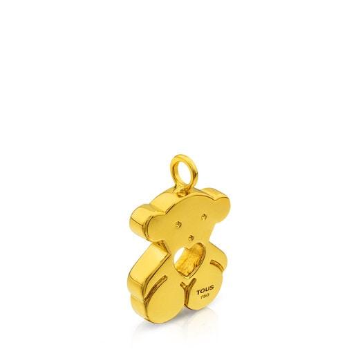 Gold Sweet Dolls Pendant big size. Bear motif with heart hole