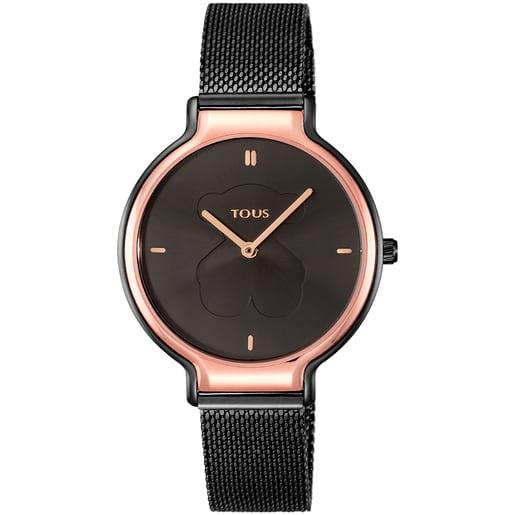 Reloj Real Bear bicolor de acero IP rosado/IP negro con correa Mesh