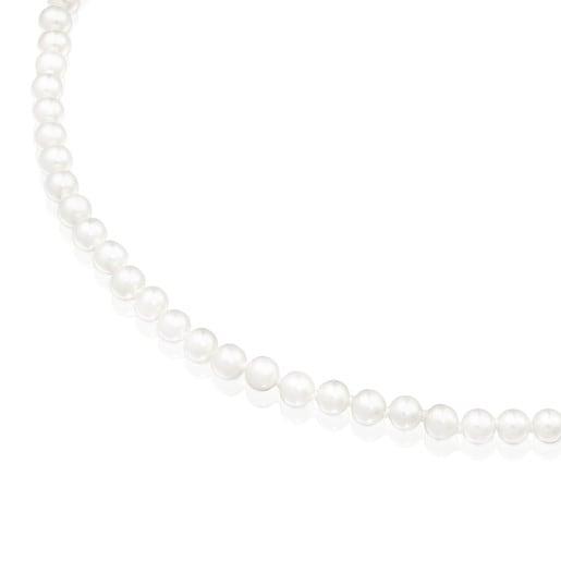 Collar de perlas de 6mm y plata Hold