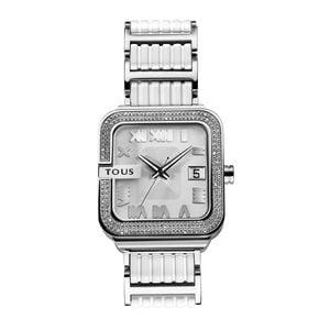 Rellotge Oto d'acer amb brillants amb corretja de silicona blanca
