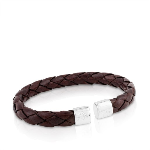 Silver TS Bracelet with leather