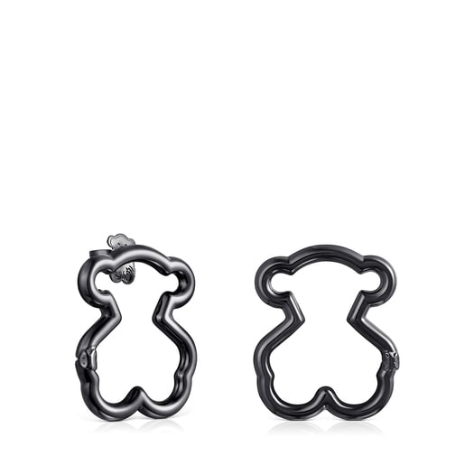 Medium Hold Dark Silver Bear Earrings