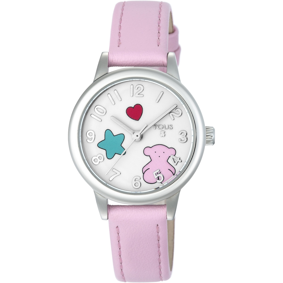 Reloj Muffin de acero con correa de piel rosa
