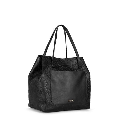 Tote Bag média Mossaic em Pele na cor preta